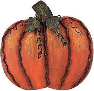 "Metal Fall Pumpkin Decor, Indoor Outdoor Standing Flat Pumpkin Decoration for Autumn Harvest Thanksgiving Halloween Decoration Home House Kitchen Decor 12""X12""X1"" (Metal Pumpkin Decor A)"