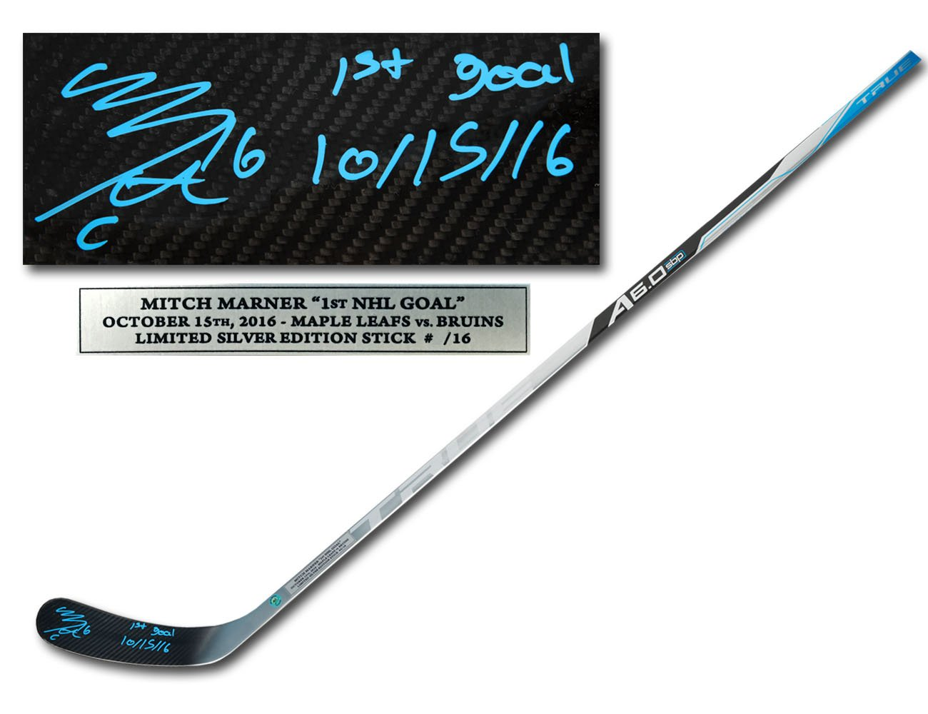 Mitch Marner Signed & Inscribed 1st Goal Silver Edition TRUE Hockey Stick #/16