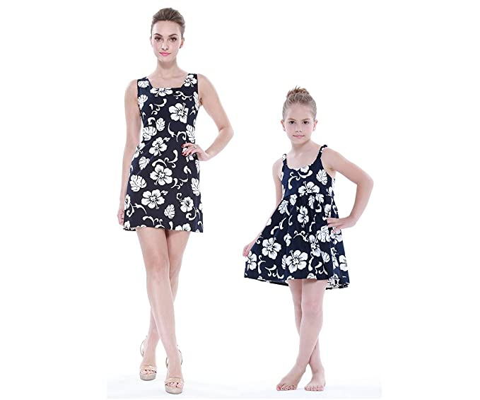 fc0edd7fa6 Matching Mother Daughter Hawaiian Luau Outfit Lady Tank Dress Girl Dress PW  Navy Hibiscus S-
