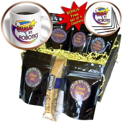Dooni Designs - Believe In Dreamy Belief Designs - I Believe In Robotics Cute Believer Design - Coffee Gift Baskets - Coffee Gift Basket (cgb_166829_1)