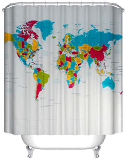 World map shower curtain by chengsan geologist gifts educational world map shower curtain by chengsan geologist gifts educational geographical earth journeys voyager novelty modern gumiabroncs Image collections