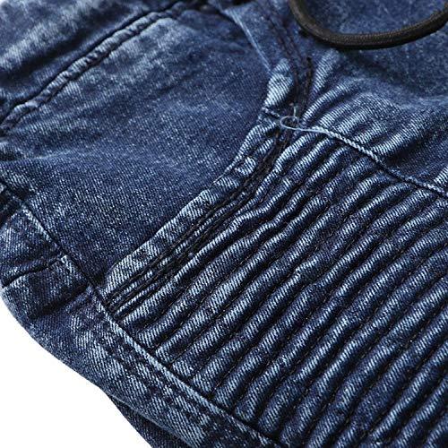 Look Stile Bermuda Usato Denim Pieghe Colour Con Retro Tasche Elastico Semplice Pantaloni Pieghettato Regular Lunghi Moda A Sportivi Multiple Jeans Uomo Slim IwBXSZ