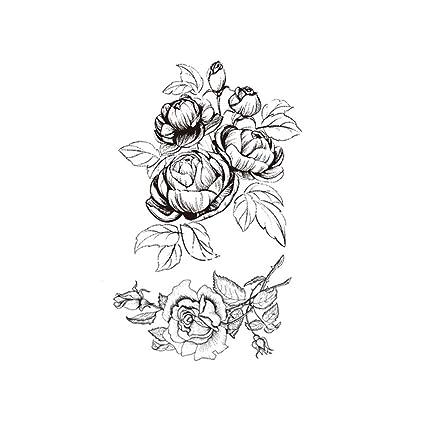 Punto espina pintada a mano elegante flor impermeable tatuaje ...
