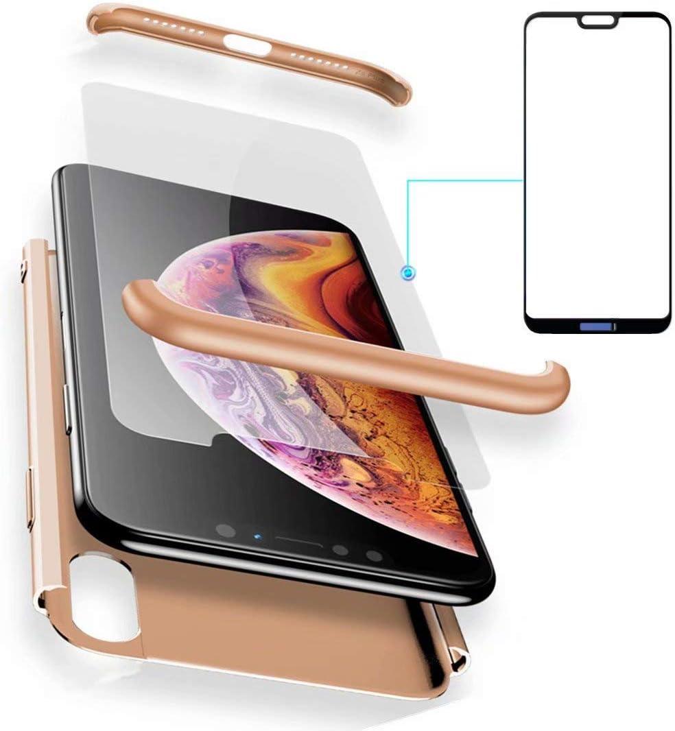 AILZH Funda Huawei P20 Lite 360°Caja Caso+Vidrio Templado Golden ...