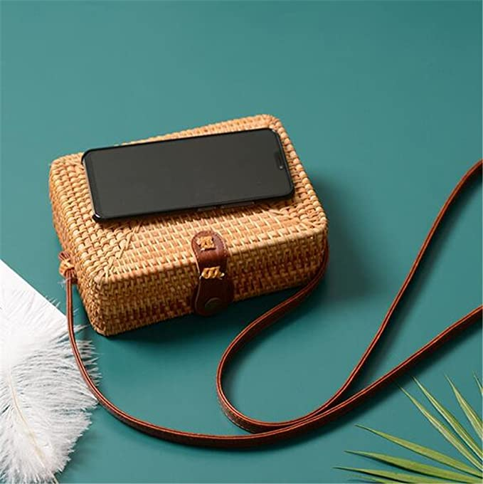 Bolsas de paja para mujeres Bolso de ratán de verano Hecho a mano Playa tejida Niñas Bolso de hombro Cuadrado Bolso de Bohemia Bali: Amazon.es: Equipaje