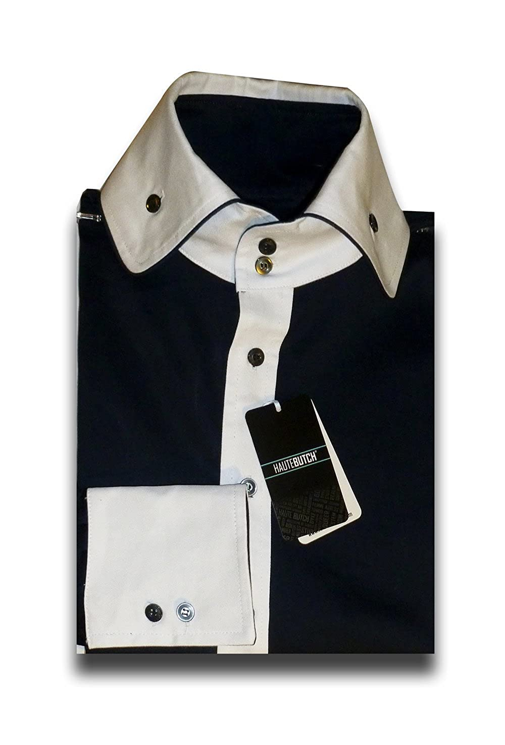 Hautebutch Womens Button-Up with White Accented Collar and Cuffs
