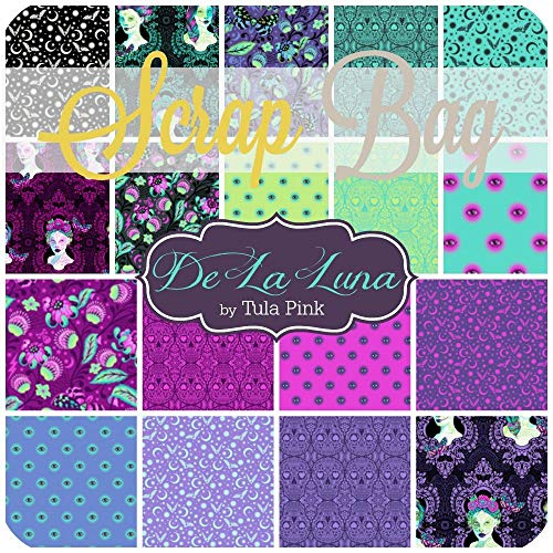 Free Spirit De La Luna Scrap Bag (Approx 2 Yards) by Tula Pink 2 Yards of Fabric (at Least 8 Pieces) 2 to 17 inch Strips DIY Quilt Fabric