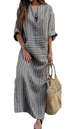 c4b714d6ff Hadudu Women s Long Sleeve V Neck Linen Loose Striped Long Maxi Dress  (Color