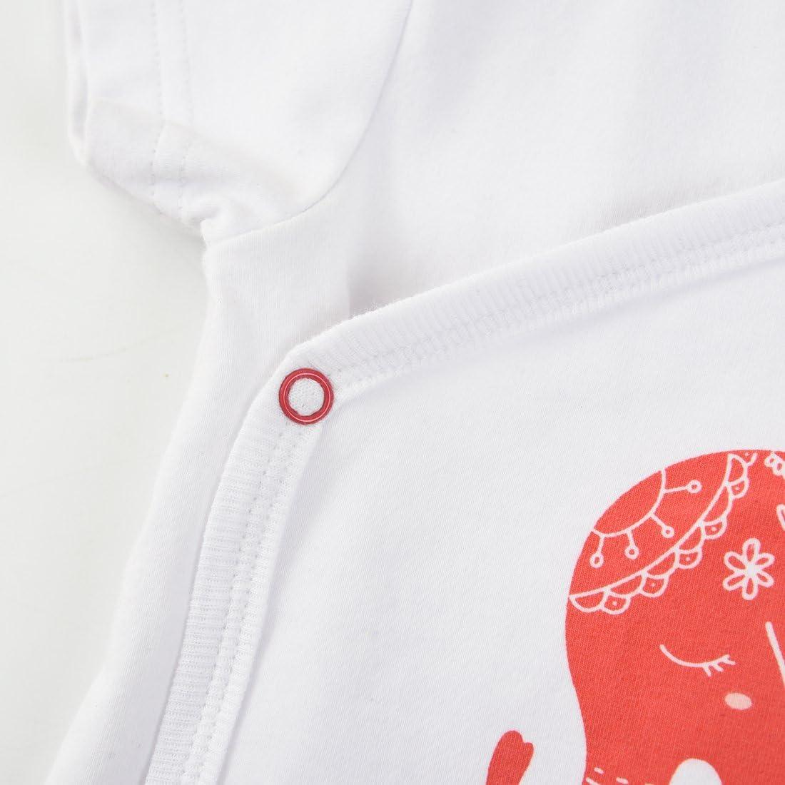 MOMOLAND Baby Girls White Kimono Bodysuit,Short and Bib Stripes 3 Piece Set