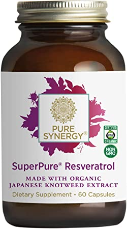 Pure Synergy SuperPure Resveratrol Extract | 60 Capsules | Made with Organic Ingredients | Non-GMO | Vegan | from Organic Japanese Knotweed and Organic Red Wine Grape Skin