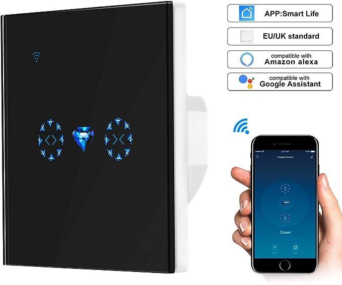 control remoto inal/ámbrico Interruptor de cortina de ventana Controlador Interruptor de obturador enrollable Funciona con Alexa//Echo y Google Home blanco Donpow Interruptor de cortina WiFi