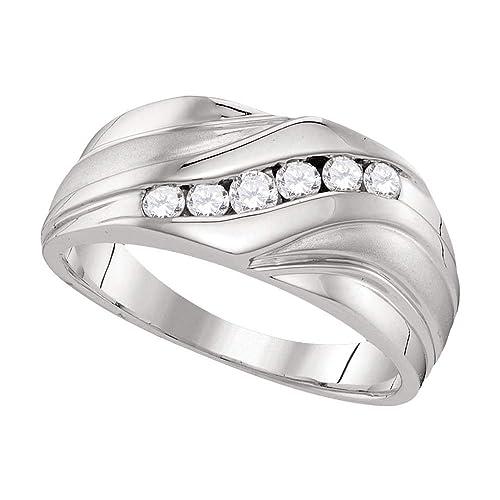 Anillo de boda redondo de oro blanco de 10 quilates para hombre con diamantes de 3