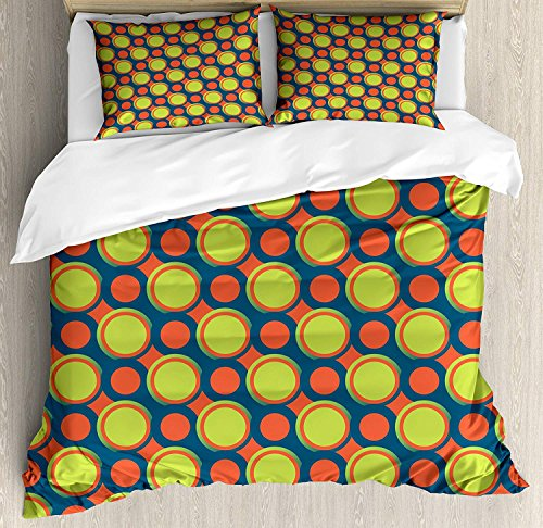 Bedding Set Retro Circles - 4 Piece Full Size Duvet Cover Set,Retro Spotty Orange Green Circles in Diagonal Direction,Bedding Set Luxury Bedspread(Flat Sheet Quilt and 2 Pillow Cases for Kids/Adults/Teens/Childrens