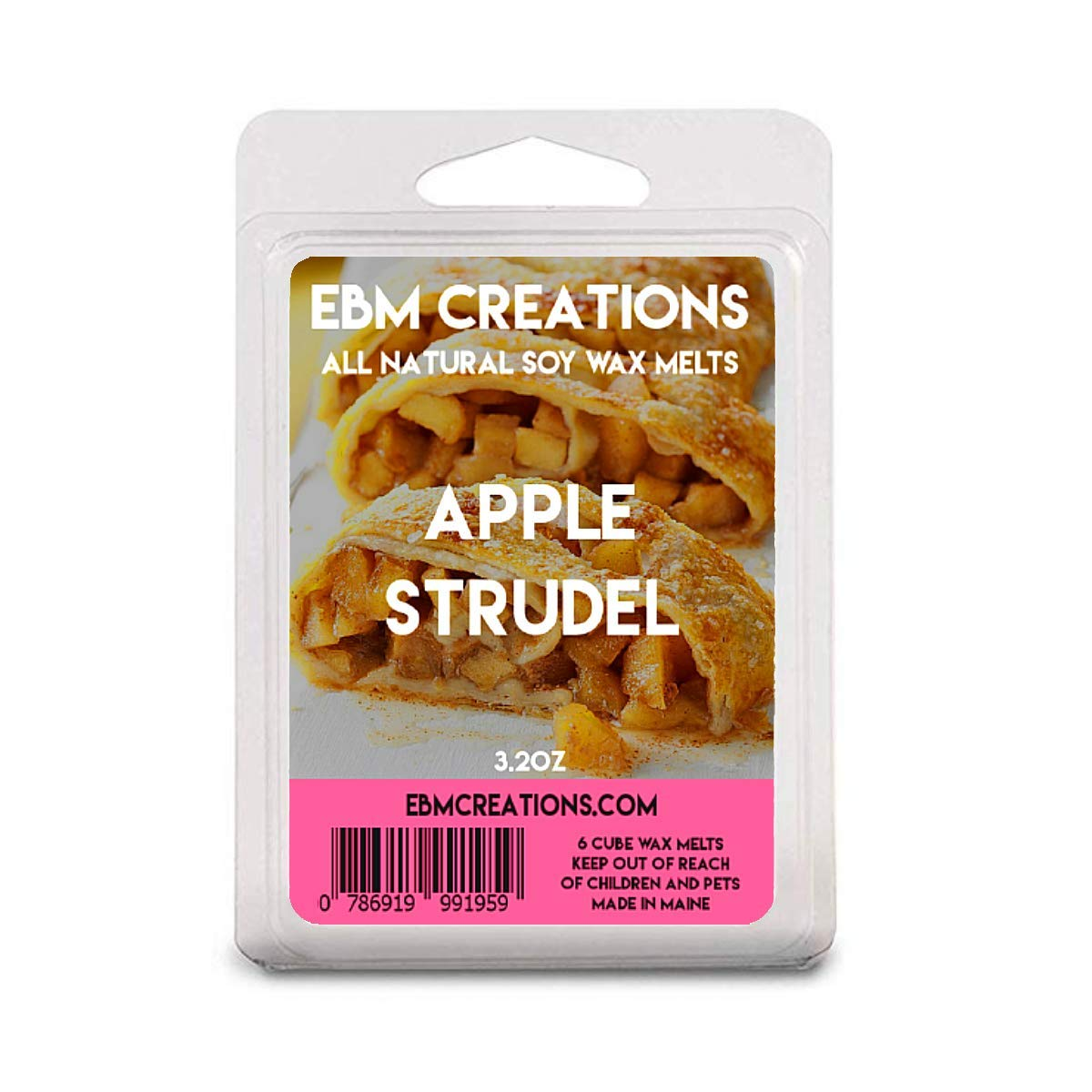 Apple Strudel - Scented All Natural Soy Wax Melts - 6 Cube Clamshell 3.2oz Highly Scented!