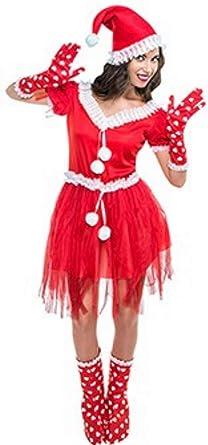 Disfraz de Mamá Noel Pompones para mujer: Amazon.es: Ropa y accesorios