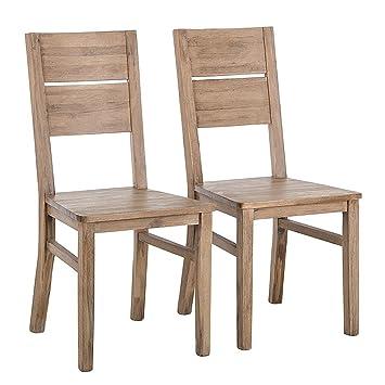 2x Esszimmerstuhl Akazie Massiv Esszimmer Kuchen Holz Stuhl Stuhle