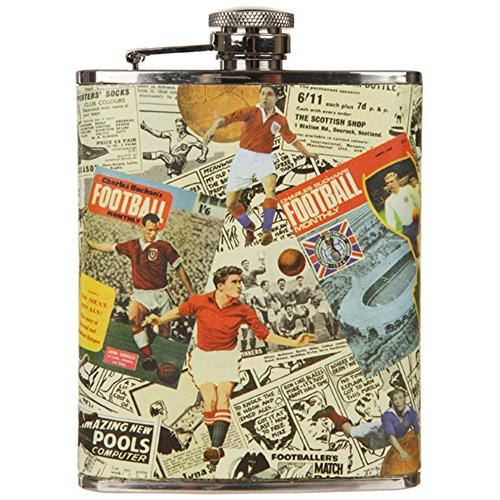 Charles Buchan's Football Montage Hip Flask 6 oz Stainless Steel