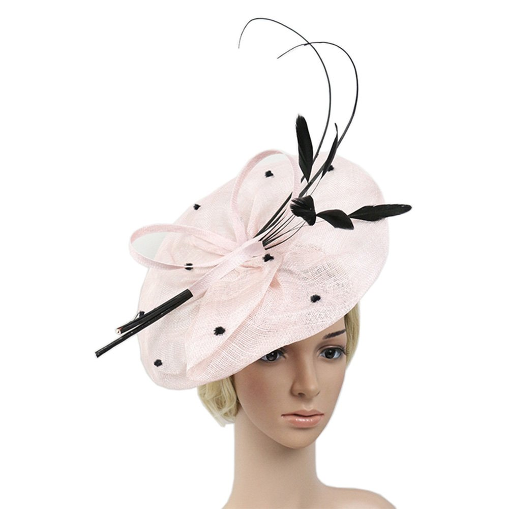 YSJOY Sinamay Feathers Floral Bow-knot Big Fascinators Sun Protective Hat British Derby Hat Wedding Cocktail Church Kentucky Hat Pink