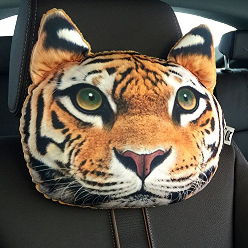 ZEALUX Comfortable Cute Doge Cat 3D Lifelike Printing Cotton Car Headrest Funny Headrest (Tiger)