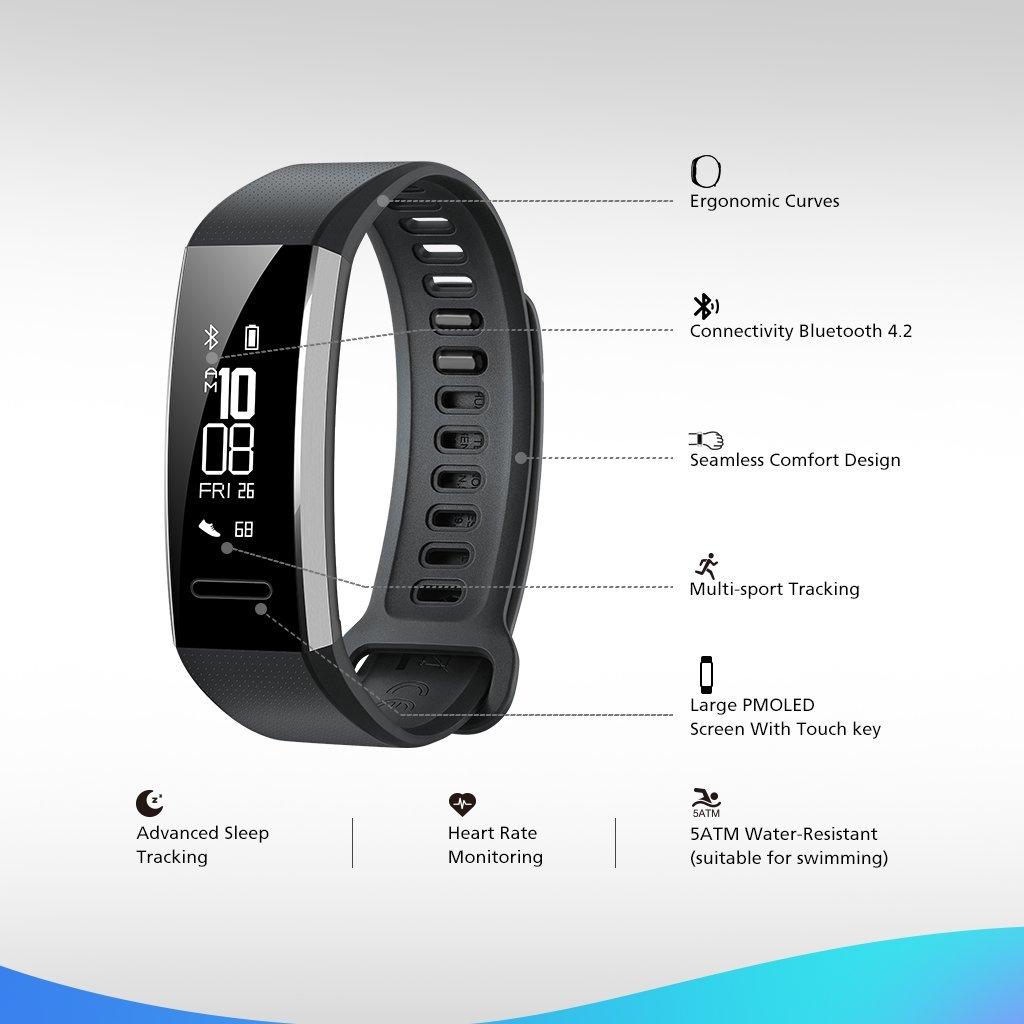 5ATM Waterproof Huawei Band 2  All-in-One Activity Tracker Smart Fitness Wristband |Multi-Sport Mode| Heart Rate US Warranty Black