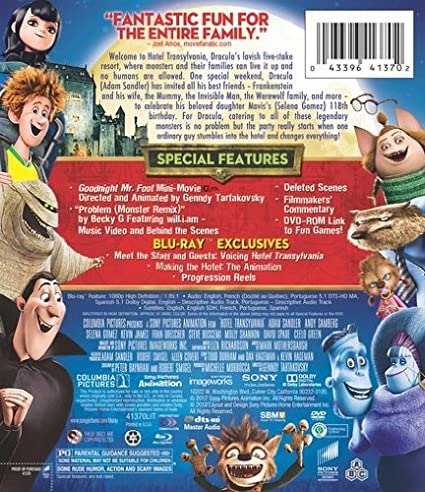 Amazon Hotel Transylvania Blu Ray DVD UltraViolet Digital Copy Adam Sandler Kevin James Andy Samberg Selena Gomez Genndy Tartakovsky Movies