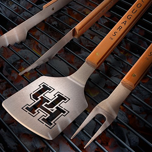 Sportula Products 7017136 Houston Cougars Sportula Classic 3 Piece Barbecue Grill Tool Set, Silver