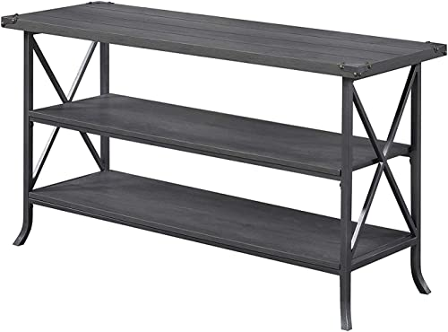Convenience Concepts Brookline TV Stand, Charcoal Slate Gray Frame