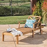 Great Deal Furniture Thalia Outdoor Teak Finished Acacia Wood Chaise Lounge For Sale
