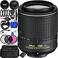 Nikon AF-S DX NIKKOR 55-200mm f/4-5.6G ED VR II Lens Bundle with Manufacturer Accessories & Accessory Kit (22 Items)