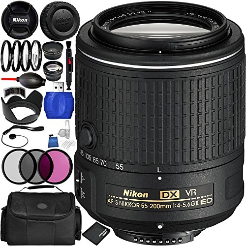 Nikon AF-S DX NIKKOR 55-200mm f/4-5.6G ED VR II Lens Bundle with Manufacturer Accessories & Accessory Kit (22 Items) by Nikon