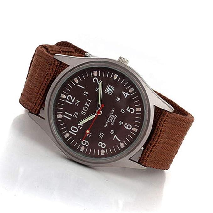 Bestow Reloj de Lona para Hombre Relojes Analšgicos de Cuarzo para Hombre de Lujo de Moda(Marršn): Amazon.es: Ropa y accesorios