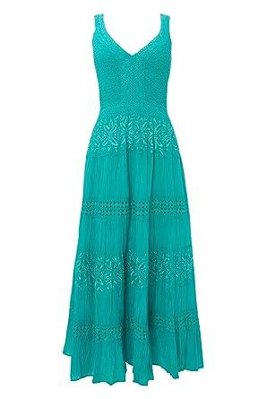 6abc00b5360 Roman Women s Long Plain Cotton Summer Dress Turquoise Size 22 ...
