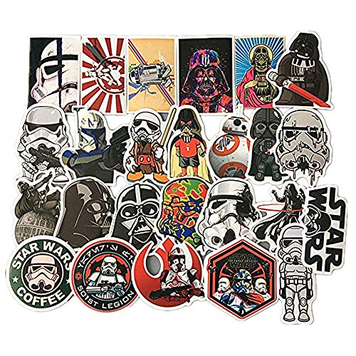 Homyu Stickers Star Wars 25 Pcs PVC Stickers Waterproof Sunlight-Proof DIY Ideals for Cars, Motorbikes, Portable luggages, Laptops