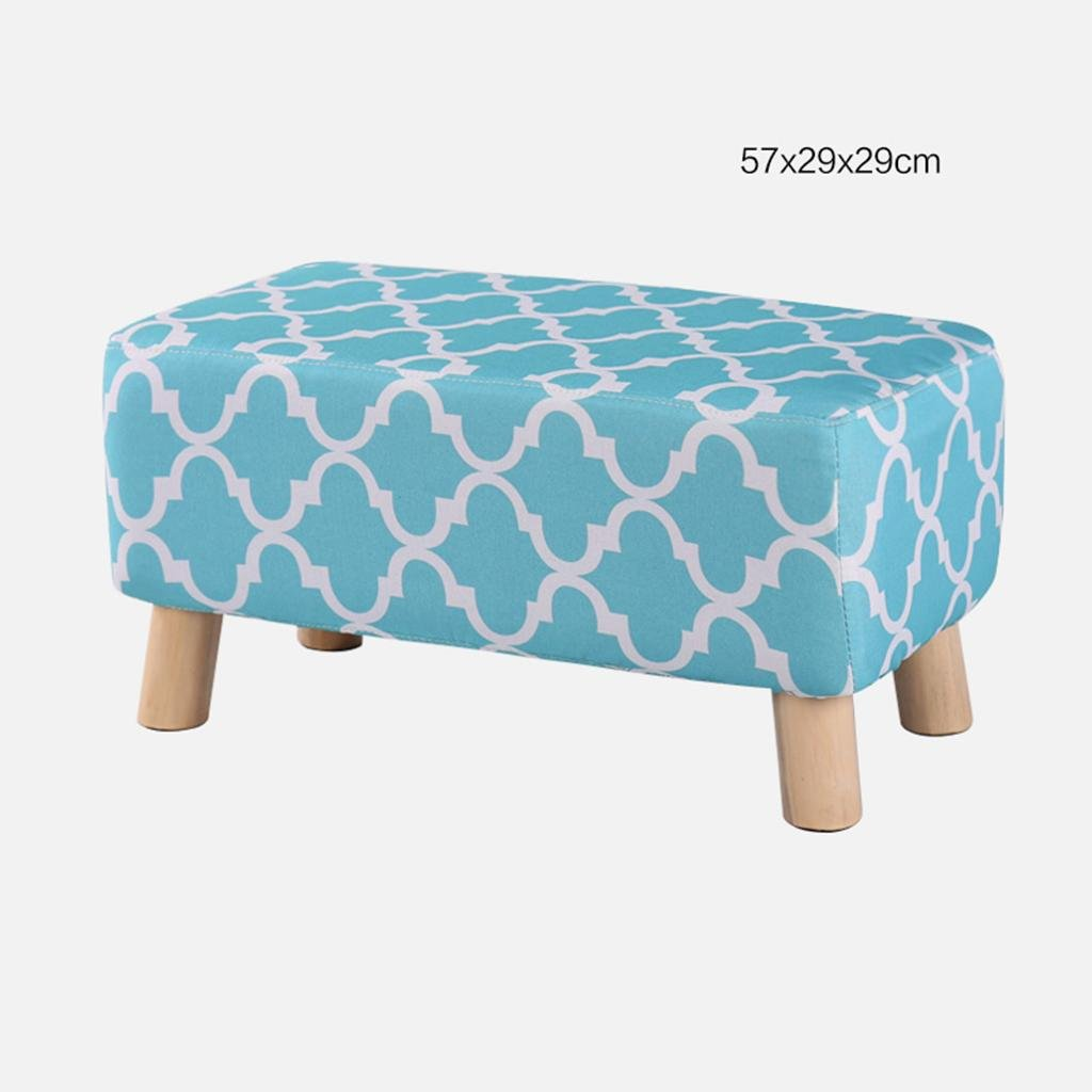 B - u HETAO Fashion Solid Wood Small Stool shoes shoes Sofa Stool Low Bench Bench Household Long Bench, a Paragraph - Multicolor Triangular Cloth