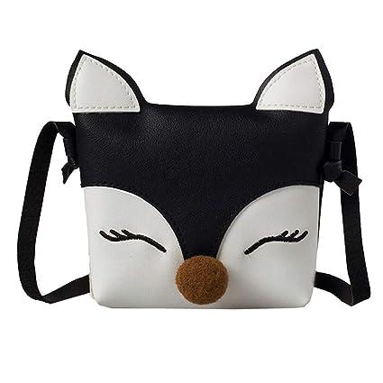 eda4c91d726f Kids Shoulder Bag Crossbody Purse Mini Cartoon Fox Animal Messenger Handbag  for Children Toddler Baby Girls (Black)