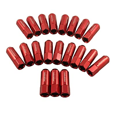 JDMSPEED 60MM Aluminum Extended Tuner Lug Nuts for Wheel Rims M12X1.25 20PCS (Red): Automotive