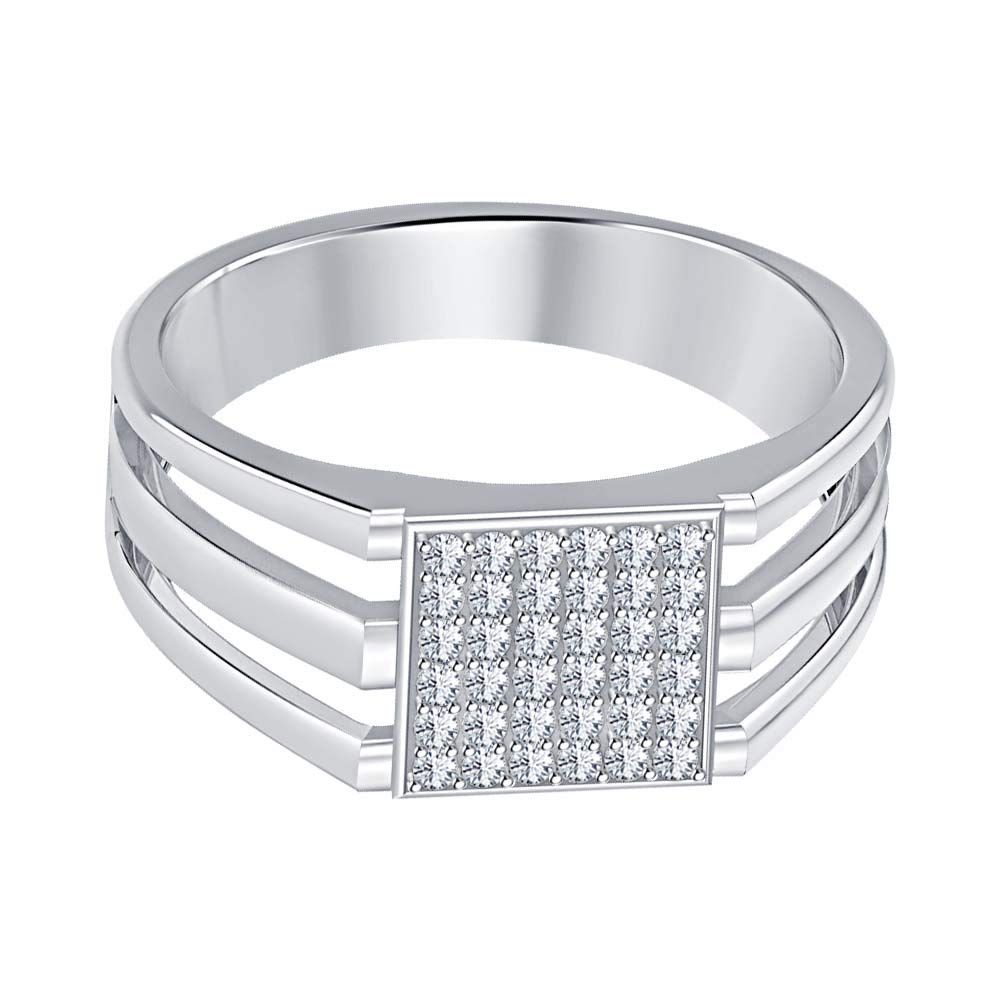 SVC-JEWELS 14k White Gold Plated 925 Sterling Silver White CZ Diamond Cluster Engagement Wedding Band Ring Mens