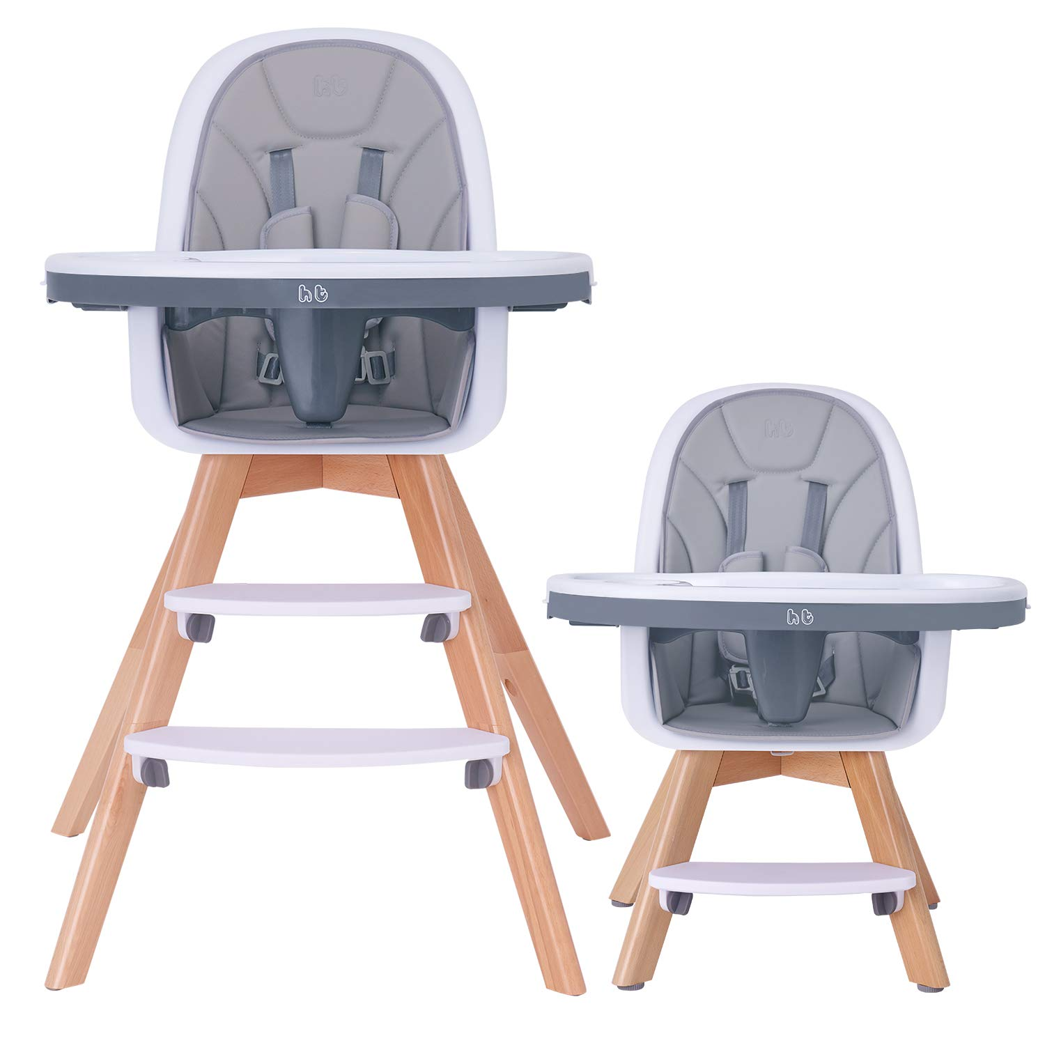 HAN-MM Baby High Chair with Removable Gray Tray, Wooden High Chair, Adjustable Legs, Harness, Feeding Baby High Chairs for Baby/Infants/Toddlers by HAN-MM