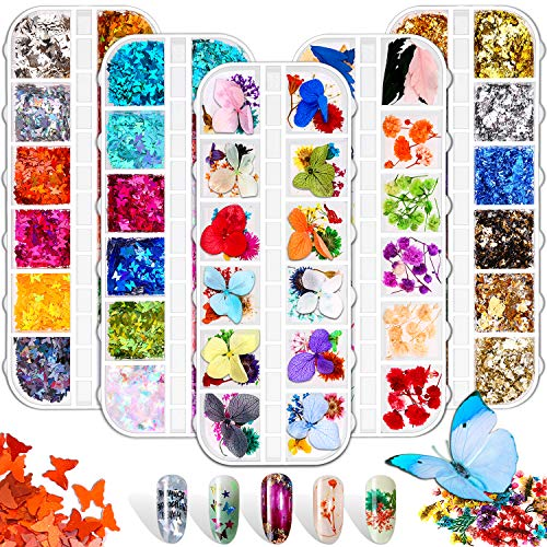 Acejoz 2 Boxes Nail Dried Flowers with 24 Colors 3D Holographic Butterfly Nail Glitter Sequins and 12 Colors Foil Flakes for Nail Art Decorations