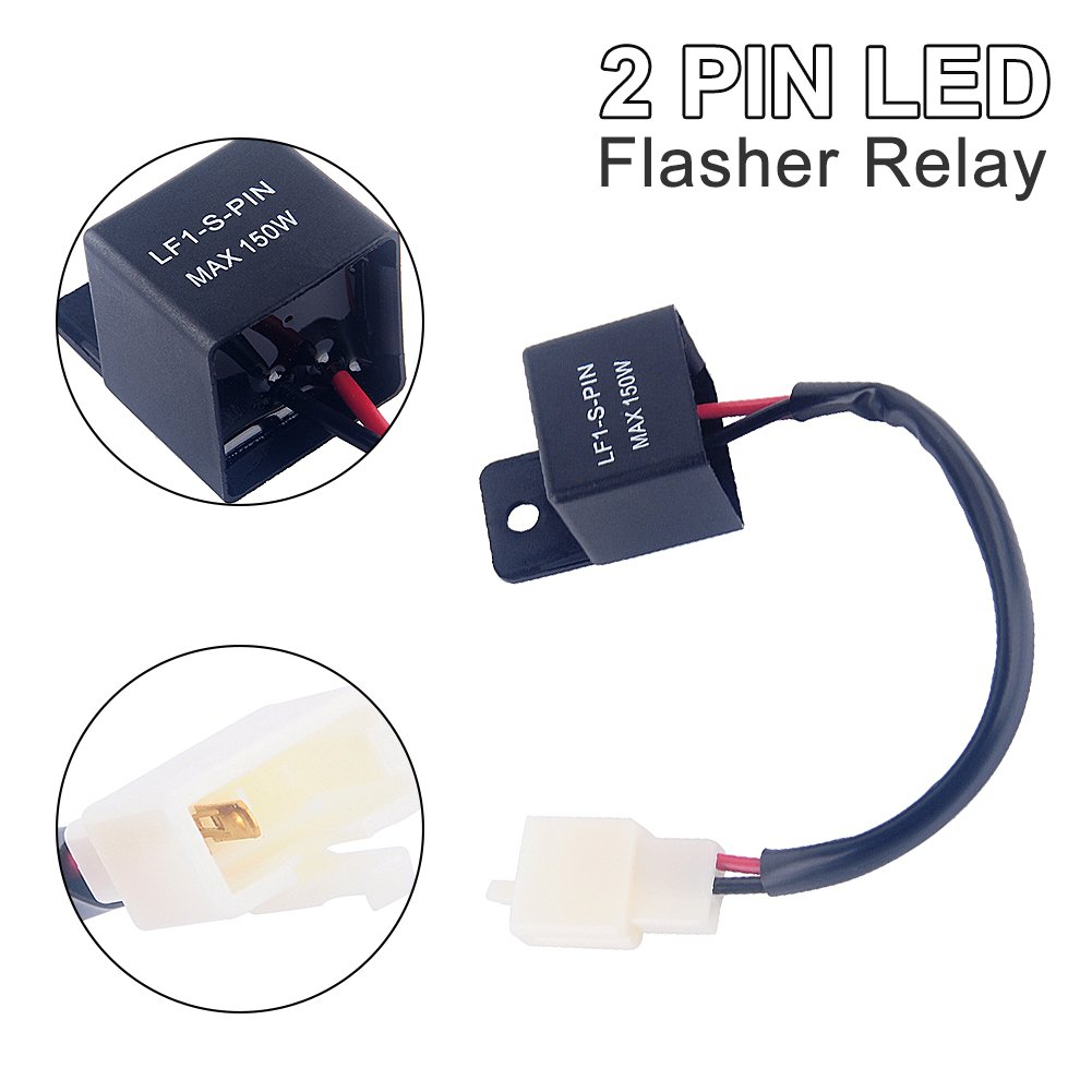 Yosoo 2 Pin 12v Auto Motorcycle Led Turn Indicator Light Electronic Flasher Relay Signal Rate Control Blink Relais Automotive