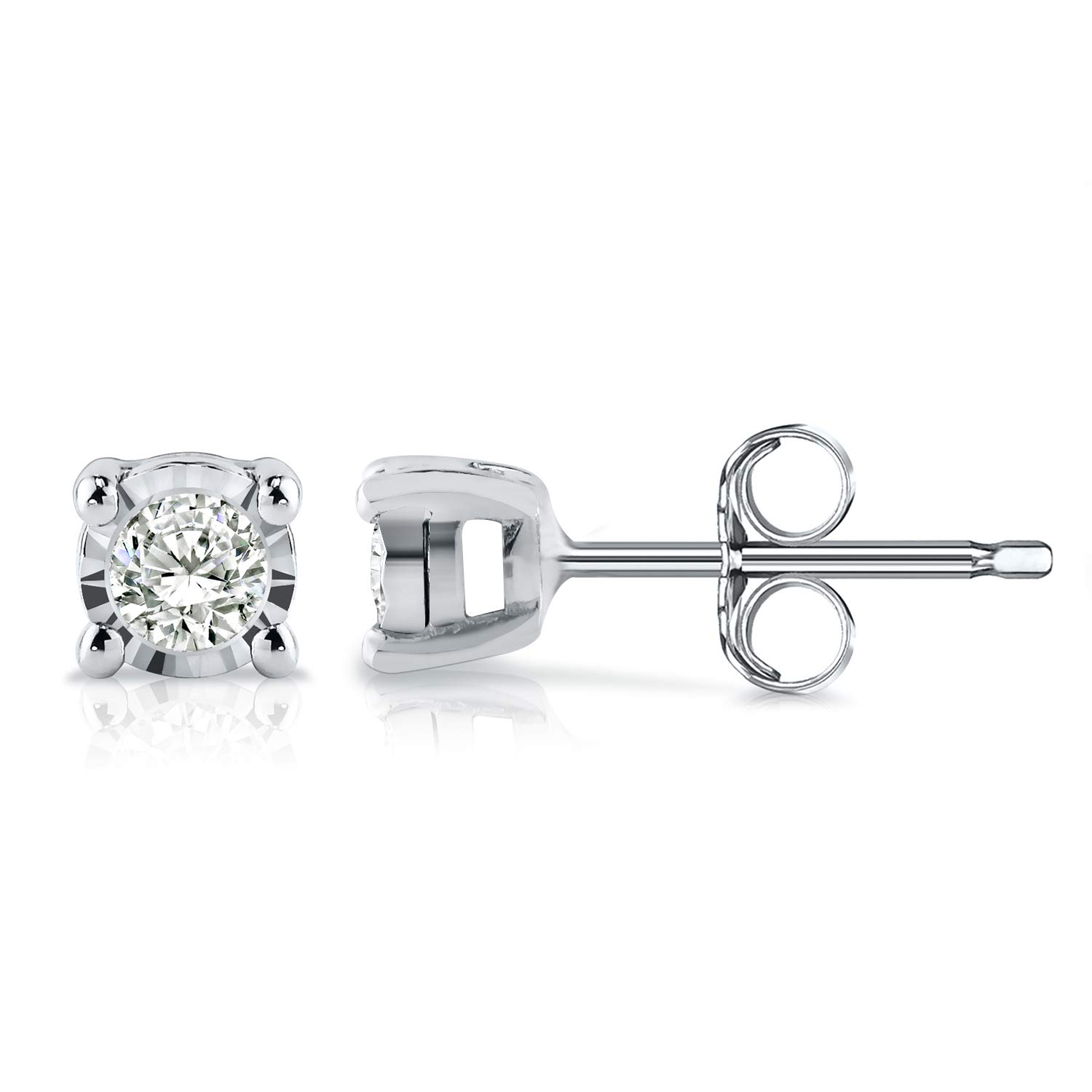 Diamond Wish Sterling Silver Round Diamond Stud Earrings (0.08 cttw, Good, I2-I3) 4-Prong Basket Set, Push-Back Clasps by Diamond Wish