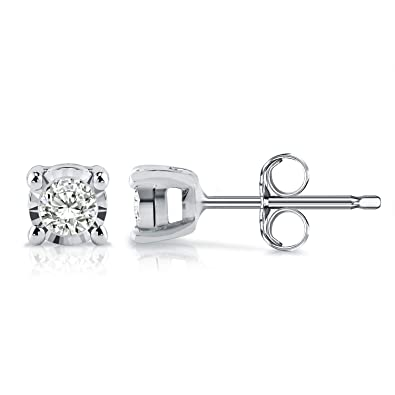 175712488 Amazon.com: Diamond Wish Sterling Silver Round Diamond Stud Earrings (0.08  cttw, Good, I2-I3) 4-Prong Basket Set, Push-Back Clasps: Jewelry