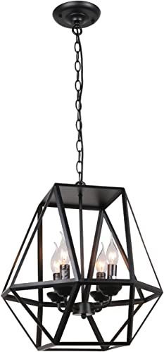 Unitary Brand Antique Black Metal Hanging Lantern Candle Chandelier