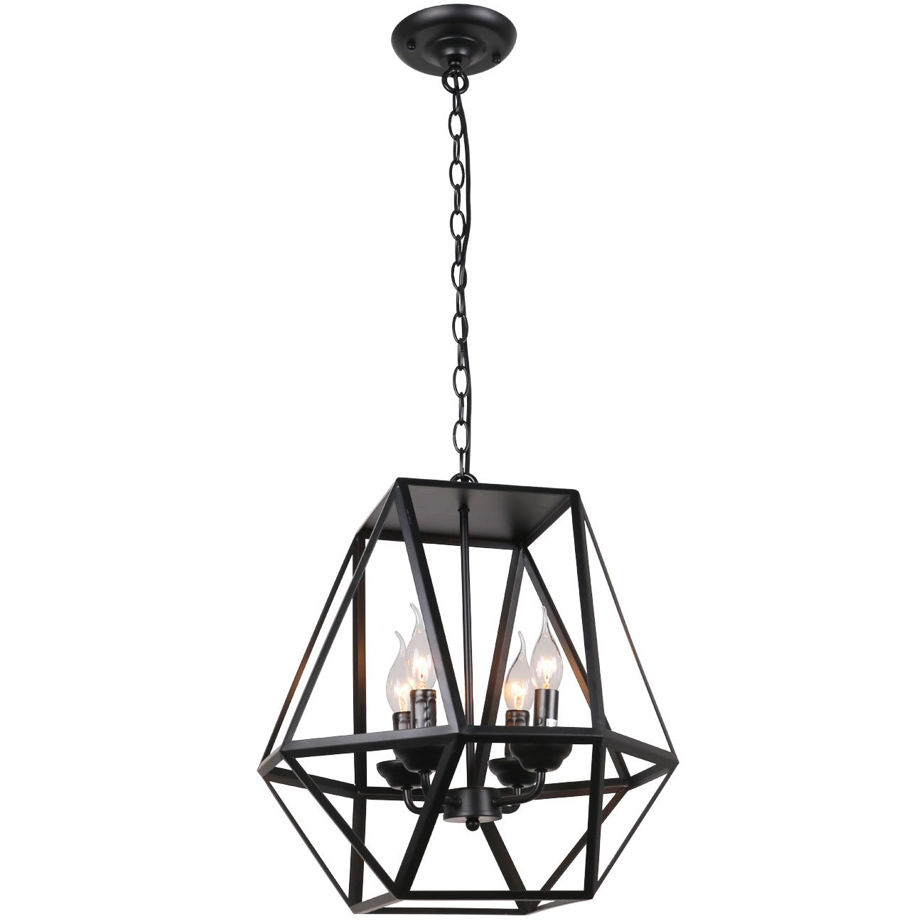 Unitary Brand Antique Black Metal Hanging Lantern Candle Chandelier with 4 E12 Bulb Sockets 160W Painted Finish