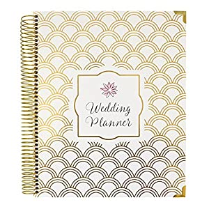 "bloom daily planners Undated Wedding Planner - Hard Cover Wedding Day Planner & Organizer - 9"" x 11"" - Gold Foil Scallops"