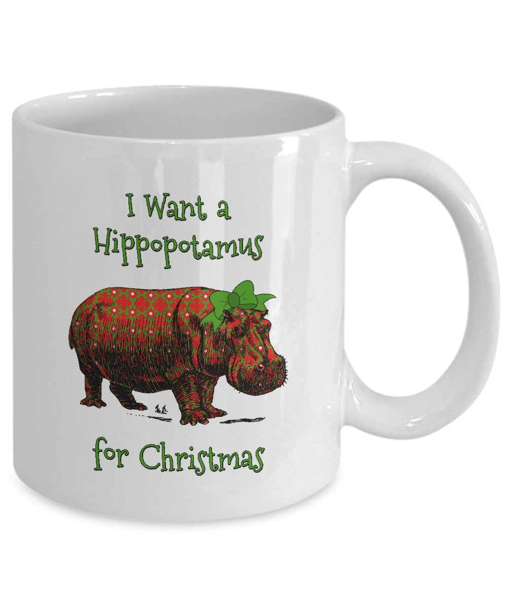 Amazon.com: Hippo Christmas Mug - I Want a Hippopotamus for ...