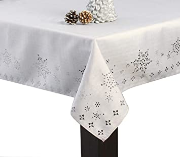 Assorted Sizes Polyester Fabric Tablecloths Snowflakes Holiday Silver Color New