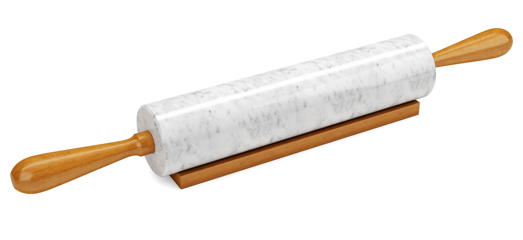 Miko Marble Stone Rolling Pin, 18 inch With Smooth Wooden Handles For Easy Grip And Includes Wooden Cradle