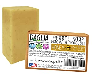 Herbal soap made with organic ingredients coldpress vegan cruelty free made in the USA (Honey and Oats plus shea butter, 1 count)
