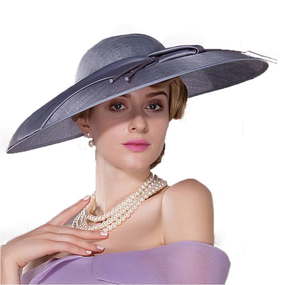 FADVES Women Fashionable Large Brim Hats Elegant Feather Decoration Kentucky Derby Hats